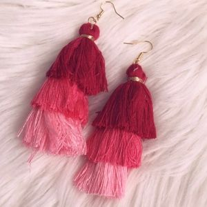 Pink Multi Tassel Earrings